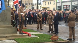 Britain's most badly injured soldier lays wreath in full uniform for first time