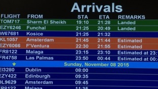 A Thomson Airways flight landed at Bristol Airport carrying passengers from Sharm el-Sheikh