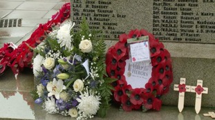Wreaths were laid at the war memorial