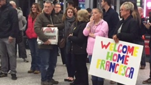 Passengers were cheered as they landed in Bristol on Saturday.