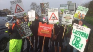 Green belt protestors in Horsforth today