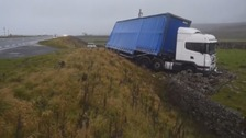 Lorry crashes after leaving road on A66