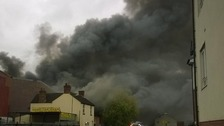The fire has broken out near the Horsefair in Kidderminster.