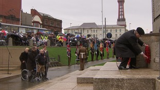 Rick Clement watches as his wreath is placed on Blackpool's War Memorial