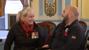 Rick with RAF paramedic Sgt Hayley Vendyback (left) who helped save his life