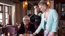 Liz Dawn filming with the Emmerdale cast this week