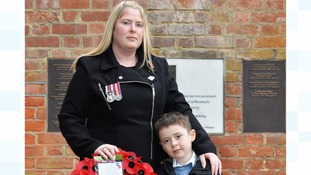 Lee Rigby's widow and son lay wreaths in Woolwich on Armistice Day