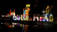 Durham Cathedral is lit up as part of the 2015 Durham Lumiere.