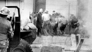 Soldiers pictured during the riots on Bloody Sunday