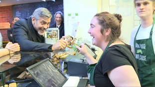 'Do it again!': George Clooney jokes with staff as he visits Edinburgh cafe which helps the homeless