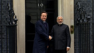 The two leaders shake hands outside Number 10.