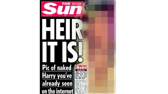The front page of The Sun with the photo of Harry obscured