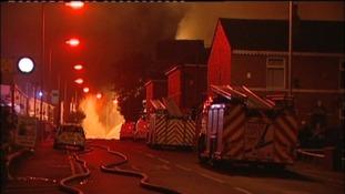 Fire crews battle the blaze