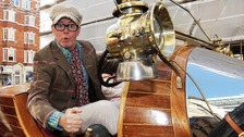 BBC Radio 2 DJ Chris Evans, drives his Chitty Chitty Bang Bang car through central London