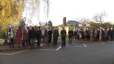 Teachers on the picket line at Alfreton Grange this morning