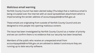 A message on the Council's website.