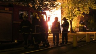 Firefighters were called to Bury Road in Radcliffe after a gas main ignited a fire.