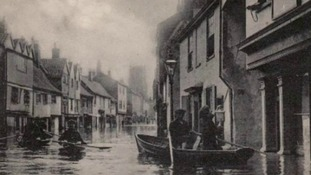 A postcard of the flooding in Norwich