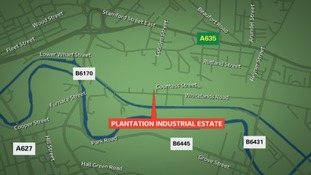Map shows the location of the Plantation Industrial Estate in Ashton.