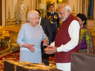 The Queen and Modi view items from the Royal Collection at Buckingham Palace