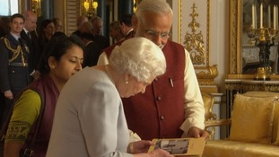 Mr Modi gave the Queen photographs of her visit to India in 1961.