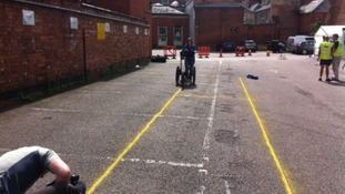 Archaeologist Claire Graham uses ground penetration radar
