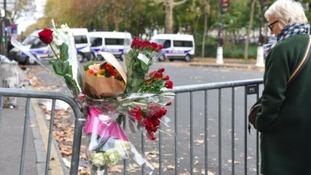 Barriers outside the Bataclan music venue in Paris