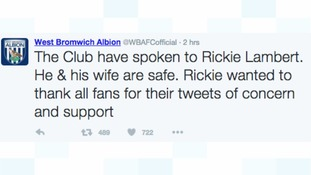 West Brom tweeted to let concerned fans know about Rickie Lambert