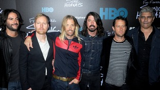 The Foo Fighters at the New York premiere of their album Sonic Highways