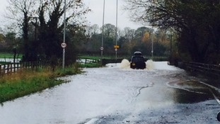 Drivers battle rhough flood waters on the A65