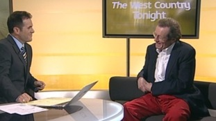 George Ferguson wearing his red trousers during an interview with Ian Axton
