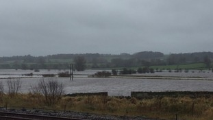 Flooded fields between Skipton and Settle