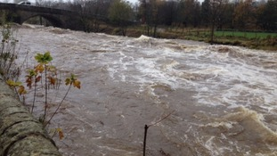 The swollen river at Settle