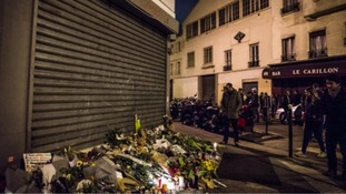 flowers outside the Bataclan