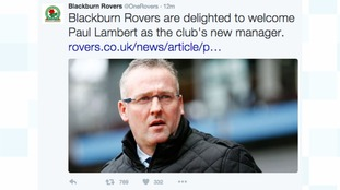 Paul Lambert has been named the new manager of Blackburn Rovers