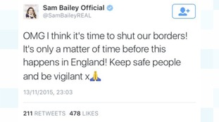 Sam Bailey has since removed the tweet