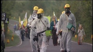 Protesters against nuclear power