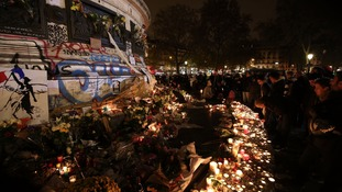 Floral tributes and candles left at Place de la Republique (Republic Square), following the terrorist attacks on Friday evening.