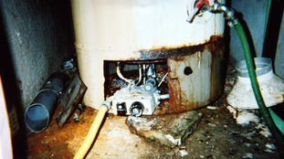 The boiler from the hotel room in Corfu where Christianne and Bobby Shepherd were found dead after carbon monoxide poisoning.