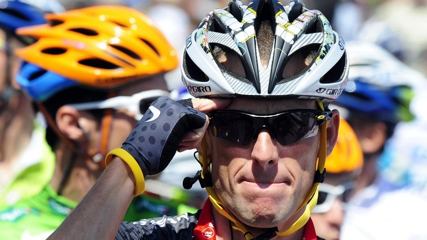 Lance Armstrong waits on the start line during the Tour de France