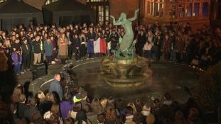 Hundreds of students hold vigil at Birmingham University
