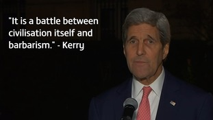 John Kerry speaking in Paris.