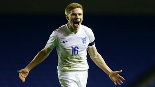 England's Duncan Watmore celebrates scoring the second goal during the U21 Championship qualifying match at the Amex Stadium in Brighton.