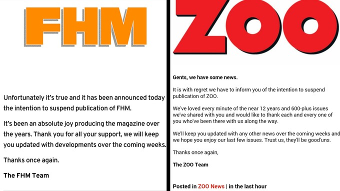 FHM and Zoo magazines posted the announcements online