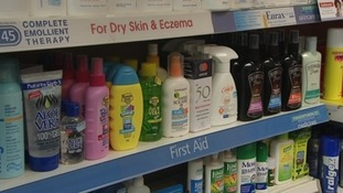 Sun cream on shop shelves