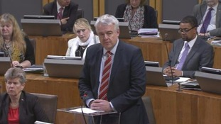 Carwyn Jones making statement to Assembly