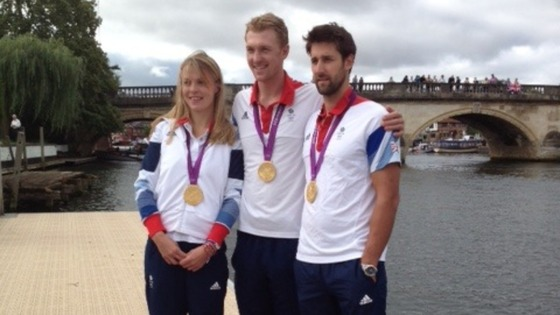 Anna Watkins, Alex Gregory and Pete Reed pose with their gold medals in Henley-on-Thames