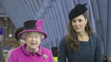 The Duchess of Cambridge and The Queen in Leicester in 2012