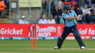 Sussex's Luke Wright is bowled out by Yorkshire's Ryan Sidebottom