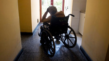 A woman in her wheel chair